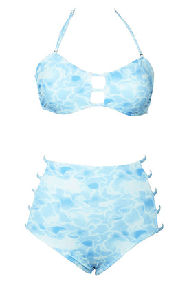 Cupshe Foamy Waves Halter Bikini Set