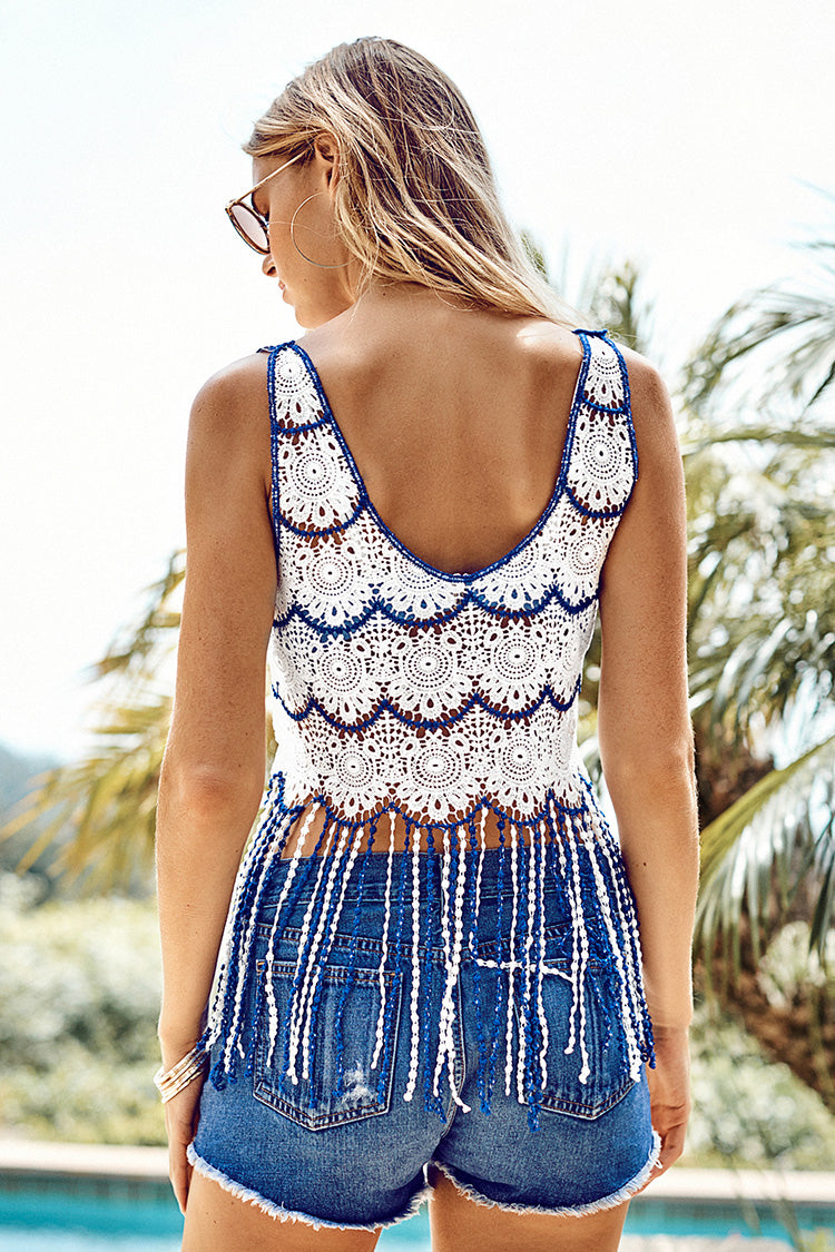 Blue and White Crochet Tank Cover Up with Fringe Trim