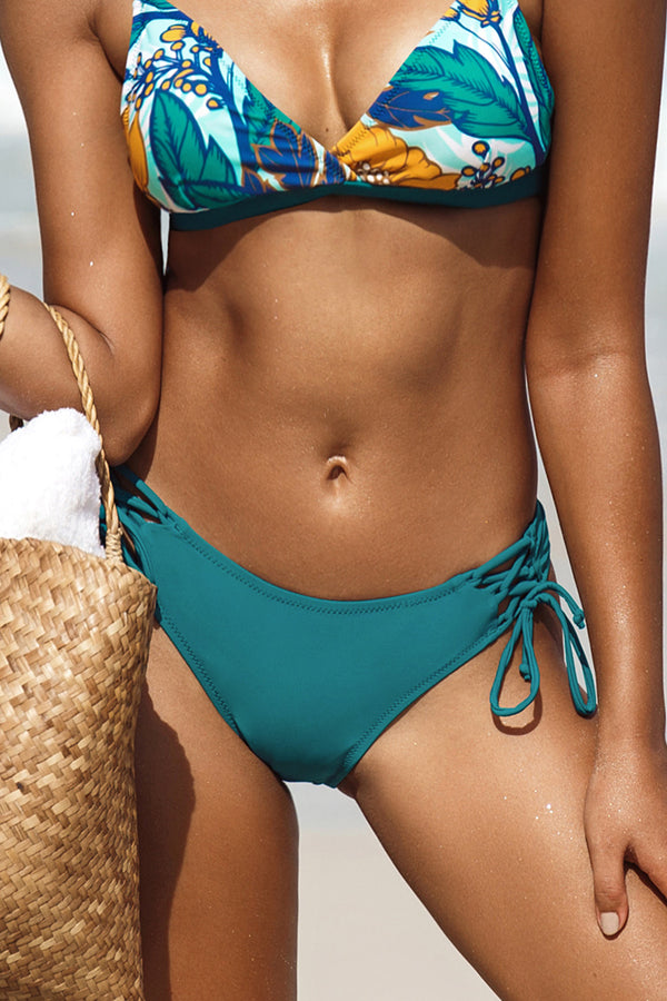 Teal Lace Up Bikini Bottom