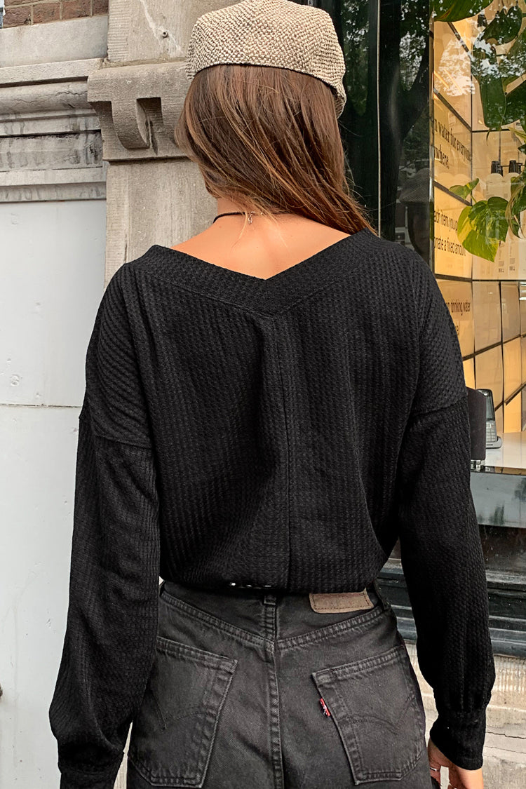 Black Waffle Knit Long Sleeve Top