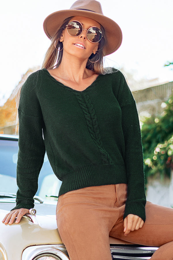 Forest Green V-Neck Sweater
