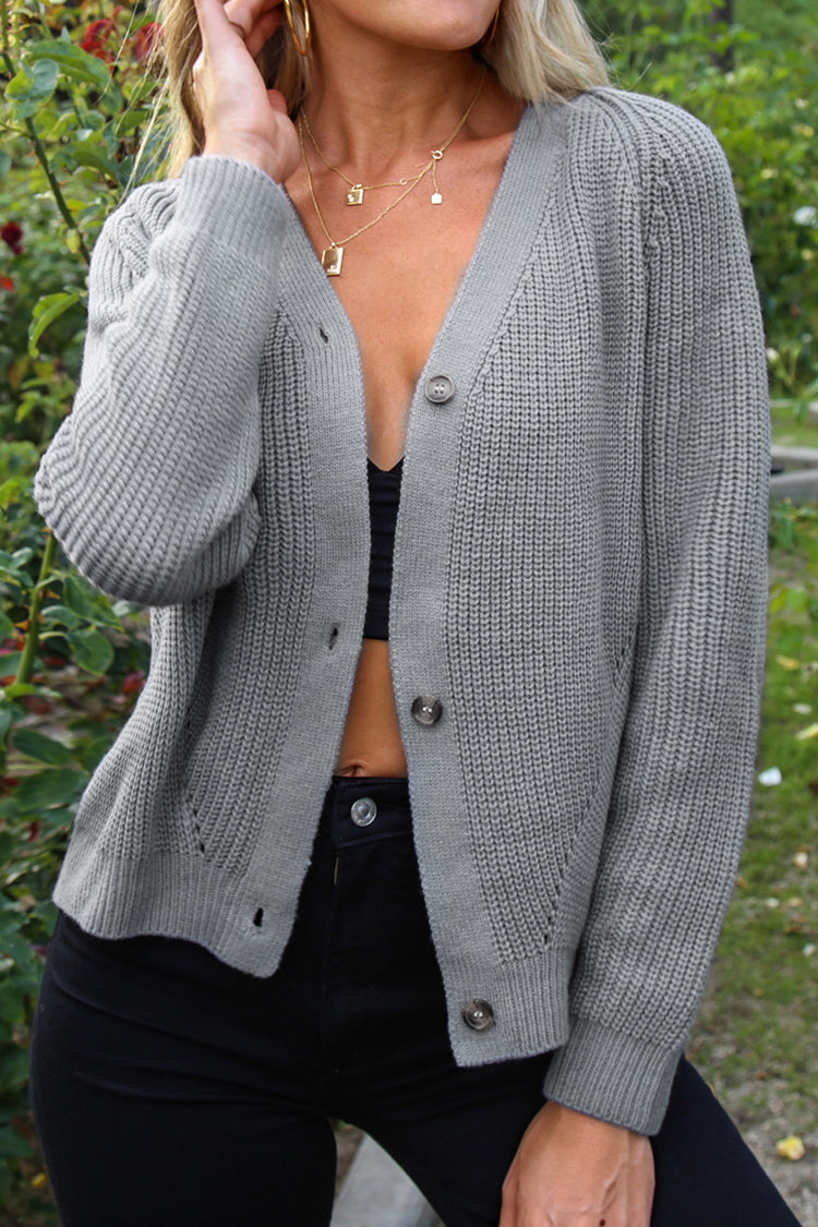 Gray Buttoned Cardigan
