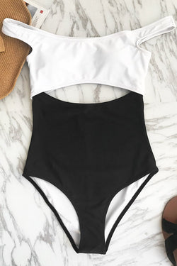 Time For You Dropped Shoulder One-piece Swimsuit