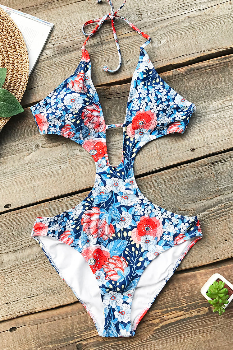 Wait For Love Print One-piece Swimsuit