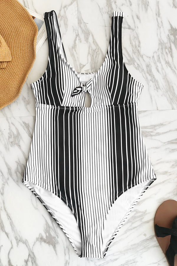 Modern Style Stripe One-piece Swimsuit