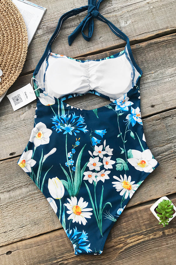 Narcissus Bay Print One-piece Swimsuit