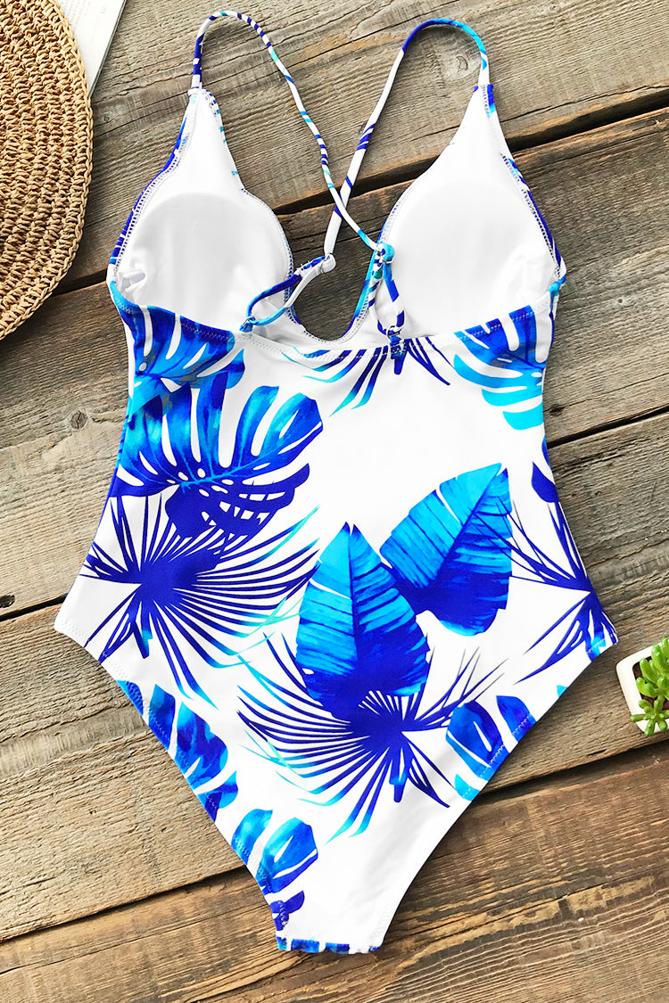 Blue Leaves Print One-piece Swimsuit