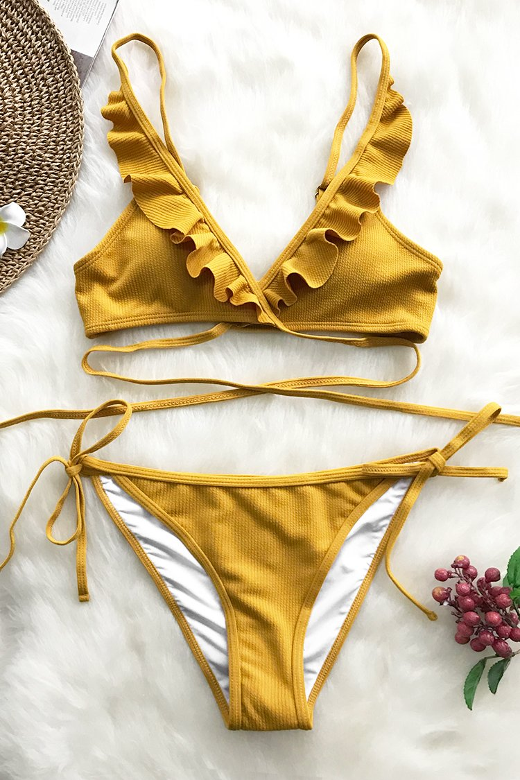 Hawaii Sunrise Falbala Bikini Set