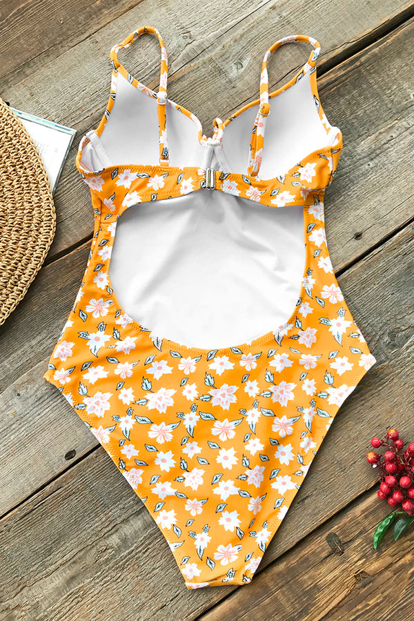 Daisy Yellow Floral One-piece Swimsuit