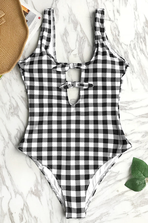 Classic Plaid One-piece Swimsuit
