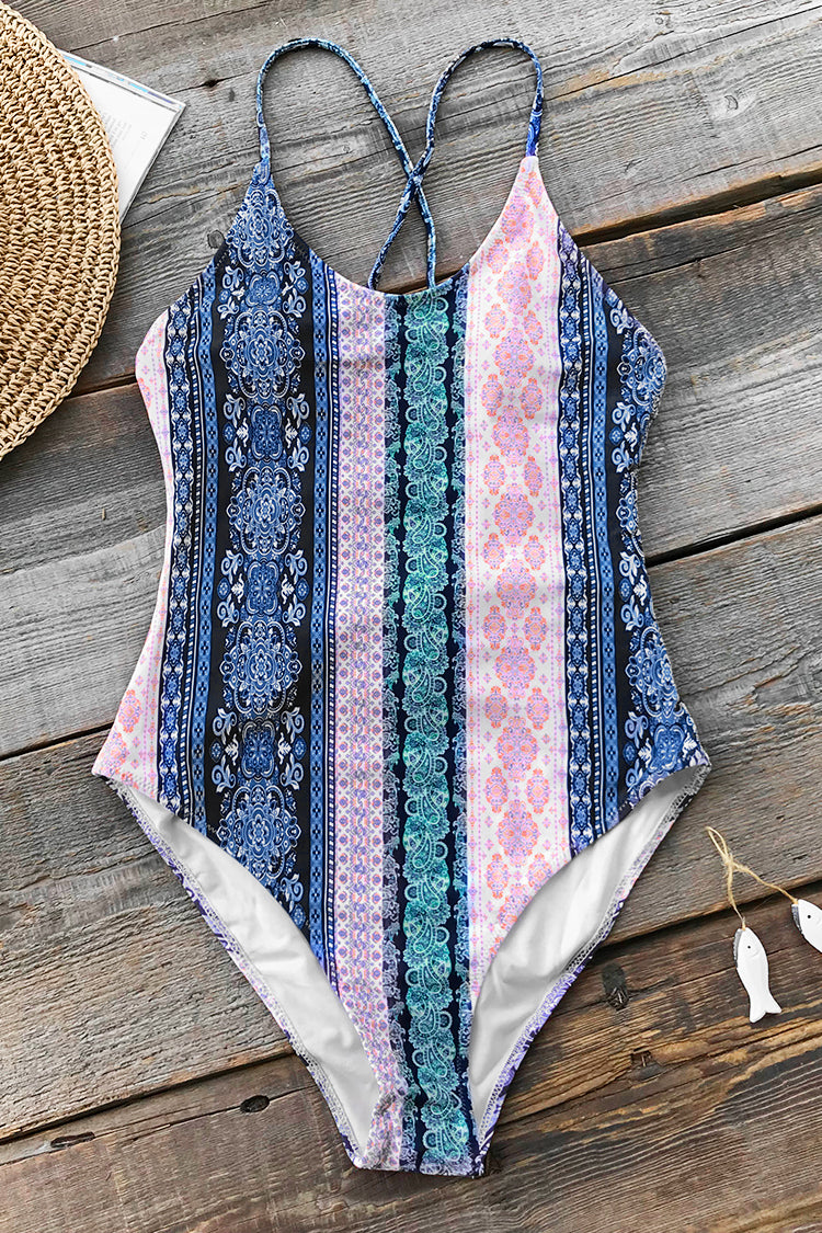 Boho Print Lace-Up One-Piece Swimsuit