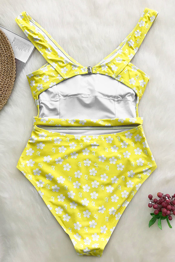 Lemon Yellow Floral One-piece Swimsuit