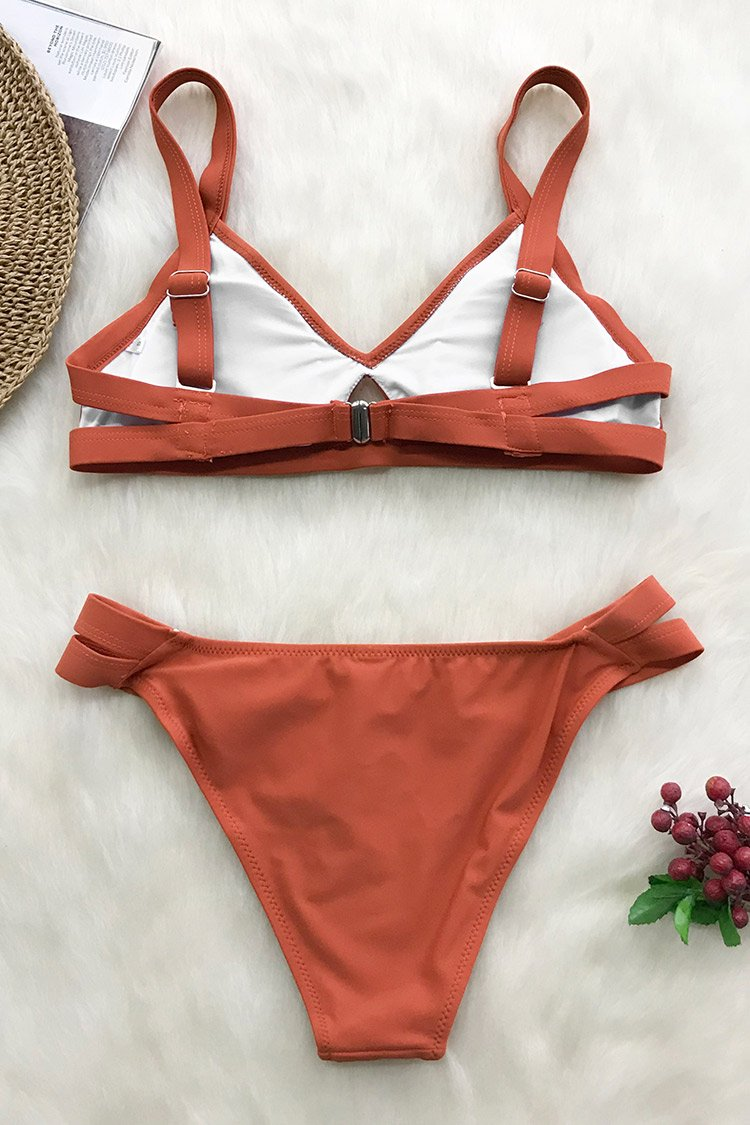 Sunset Orange Solid Bikini
