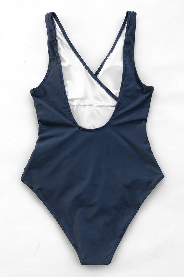 Ruched Navy Solid One-piece Swimsuit
