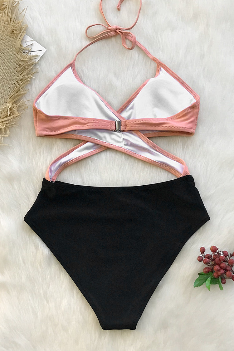 Pink And Black Wrap One-Piece Swimsuit