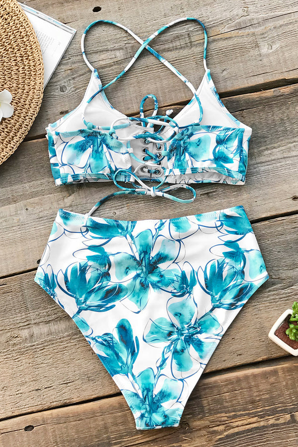 Blue Orchid Lace-Up Bikini