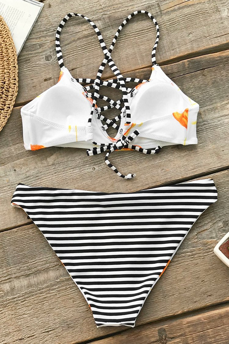 Orange Flamingo Reversible Bikini