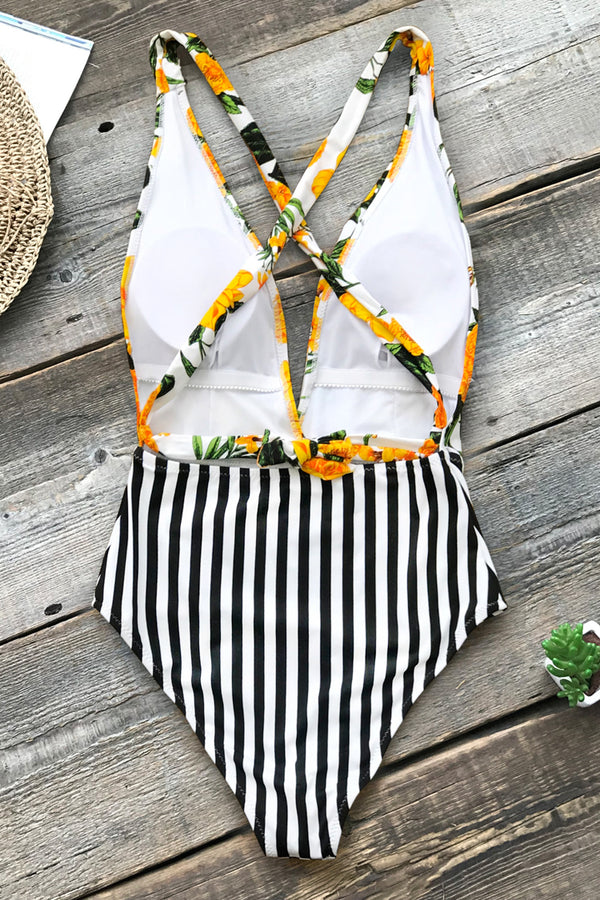 Yellow Floral and Black Stripe One-Piece Swimsuit