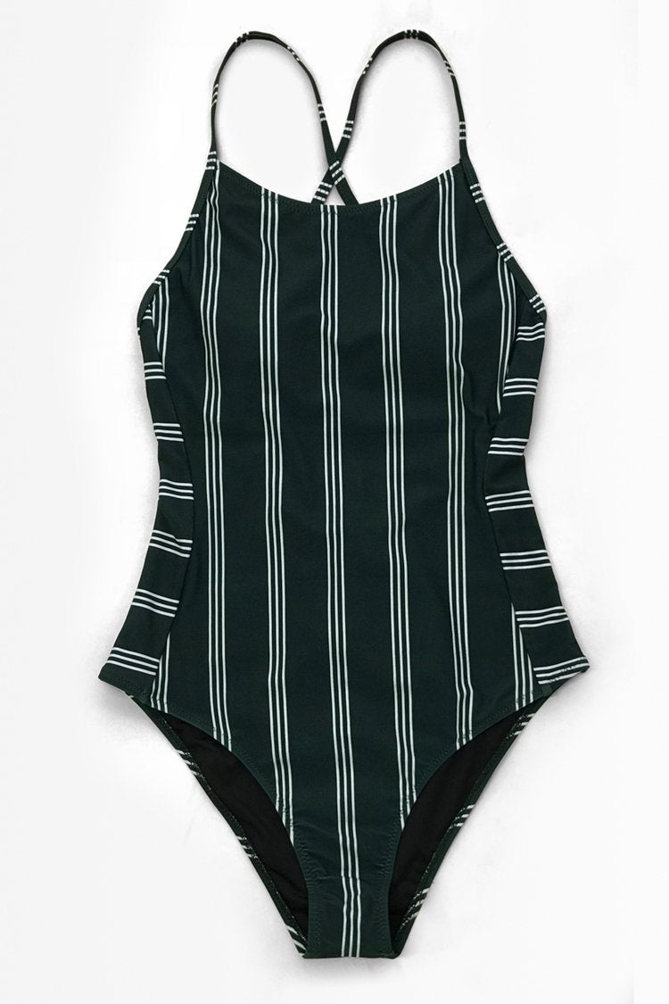 Dark Green and White Stripe Lace-Up One-Piece Swimsuit