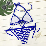 Cupshe Deep Water Waves Halter Bikini Set