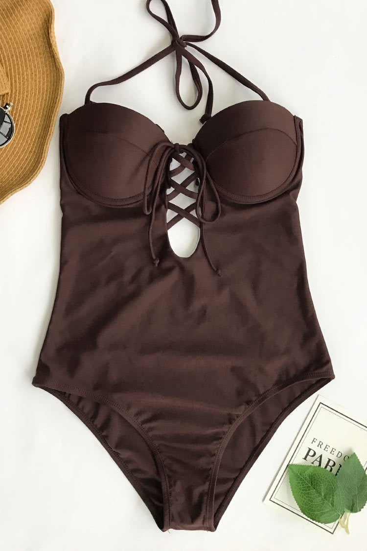 Cupshe Slow Time Halter One-piece Swimsuit CYY1080M