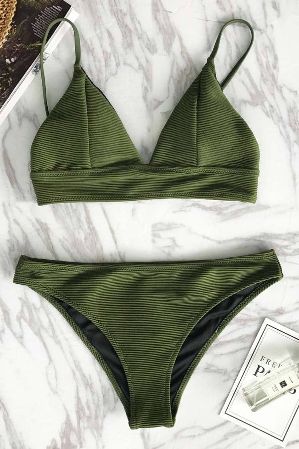 Relaxation Exercises Solid Bikini Set