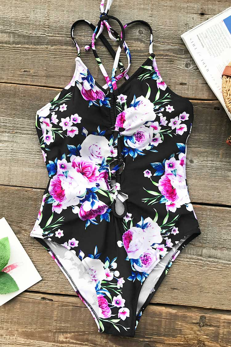Beauty In Darkness Print One-piece Swimsuit