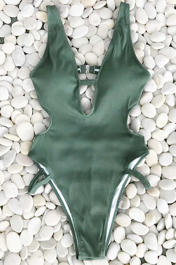 Beauty Flash Solid One-piece Swimsuit