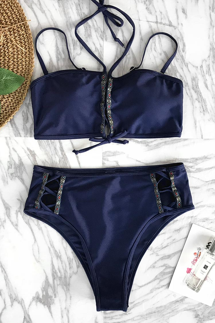 There is nothing more eye catching than this bikini set. Product Code CYY1152 Details Halter design Lace up at front High-waisted fit Removable padding bra Regular wash Fabric 80% polyester,20% spandex, lustre cloths Reference model try on SIZE M, height 5\'9, weight 155 lbs, bust 36C SIZE(IN) USA UNDERBUST WAIST HIP S 4/6 25.9 25.2 29.9 M 8/10 26.8 26.8 31.5 L 12/14 28.3 28.3 33.1 XL 16/18 29.9 29.9 34.7 XXL 20 31.5 31.5 36.2 size chartplease allow 0.4-0.8 differs due to manual measurement Swim Top Sizing Guide S M L XL XXL 32C 32D 34A 34B 34C 34D 36A 36B 36C 36D 38A 38B 38D 40B 40C 40D 40A 40B 40C 40D
