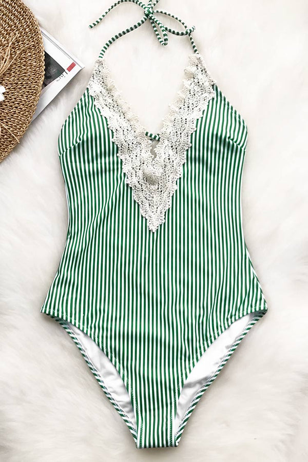 Green Shade Lace One-piece Swimsuit