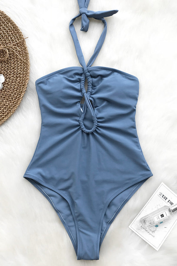 Water Wave Halter One-piece Swimsuit