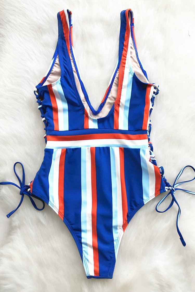 Street Chic Lace Up One-piece Swimsuit