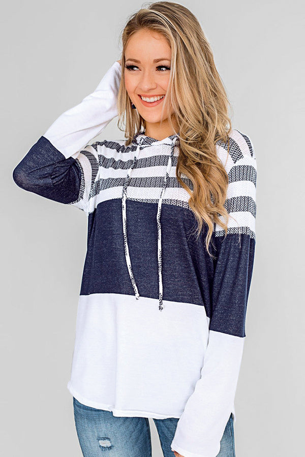 Navy Stripe Hoodie with Long Sleeve