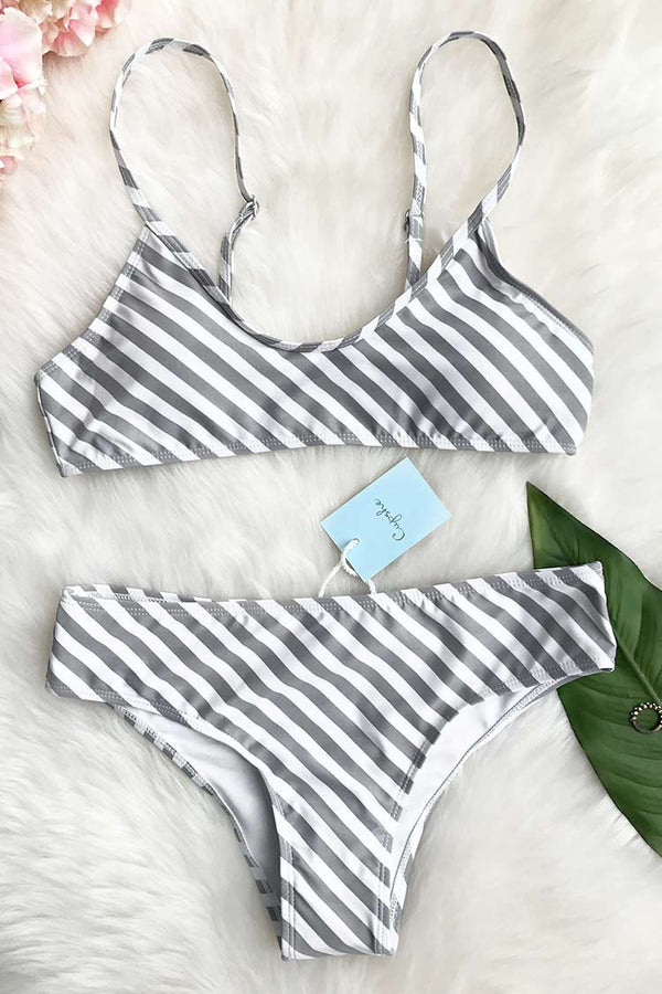 Approaching Holidays Stripe Bikini Set