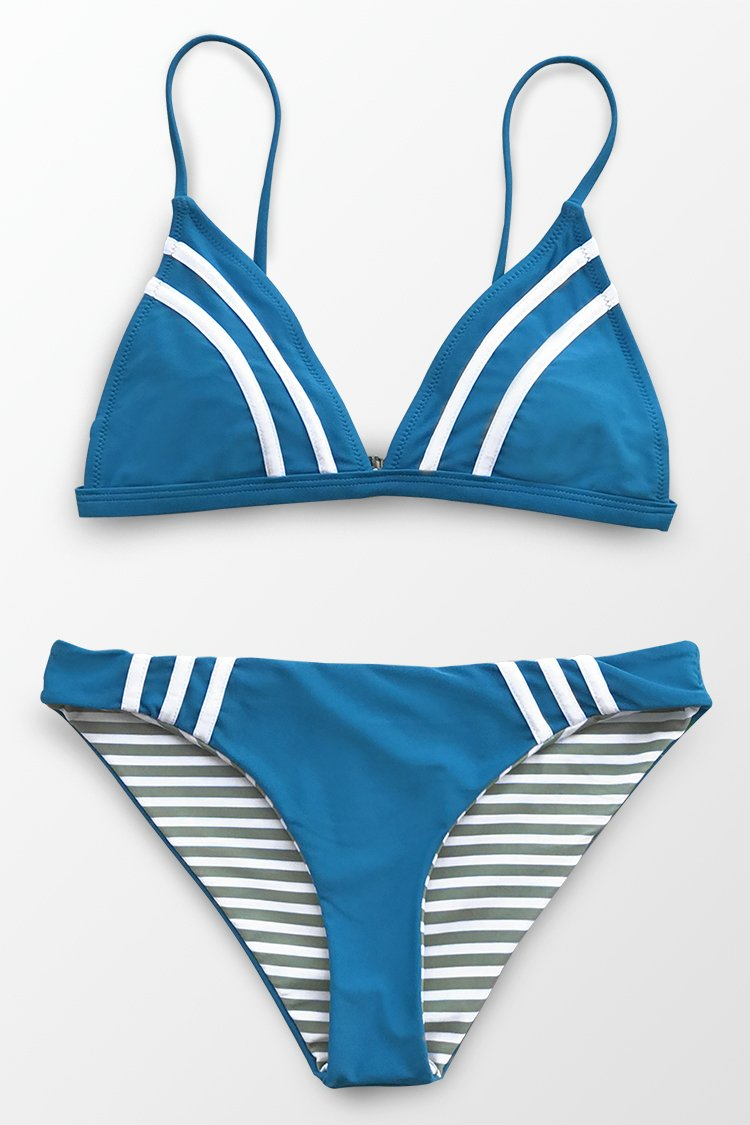 Blue And Stripe Bikini Top