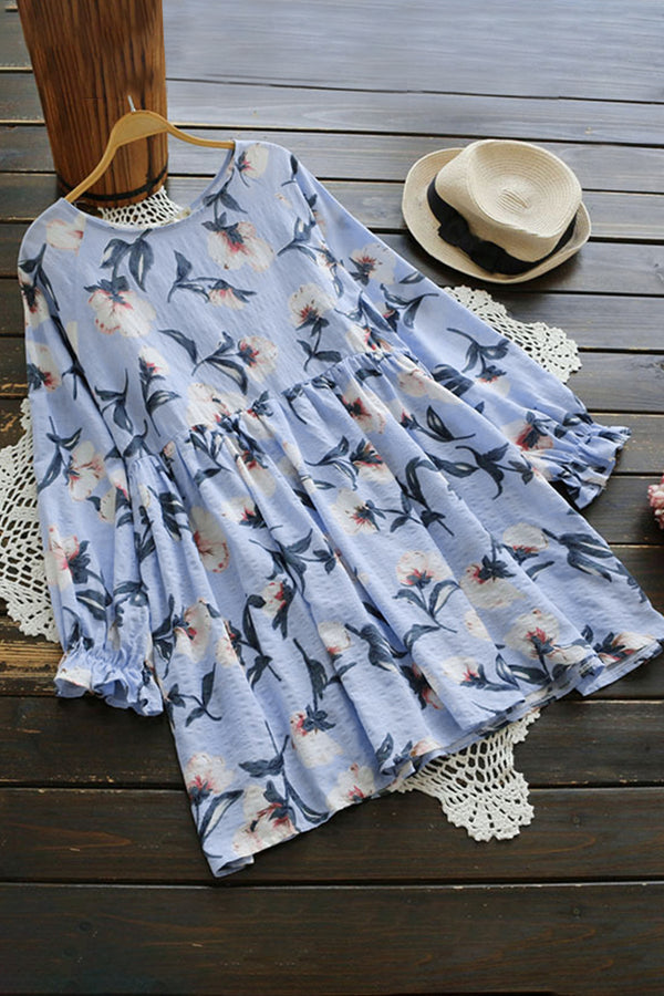 Ruffled Long Sleeve Floral Dress