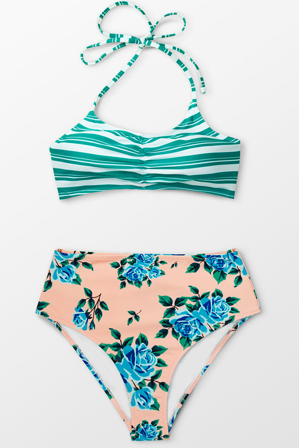 Green Striped and Floral High-Waisted Bikini Bottom