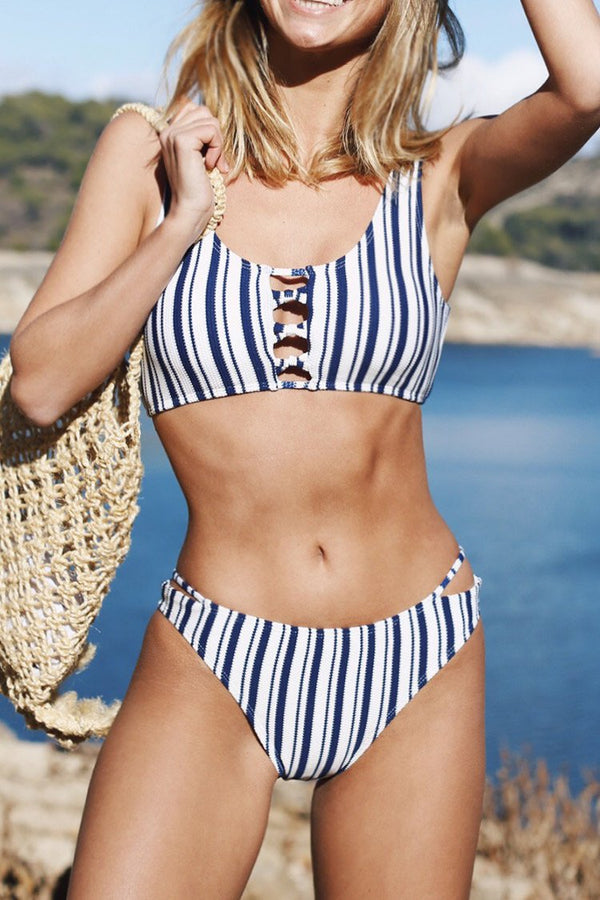 Popular Ballad Stripe Bikini Set