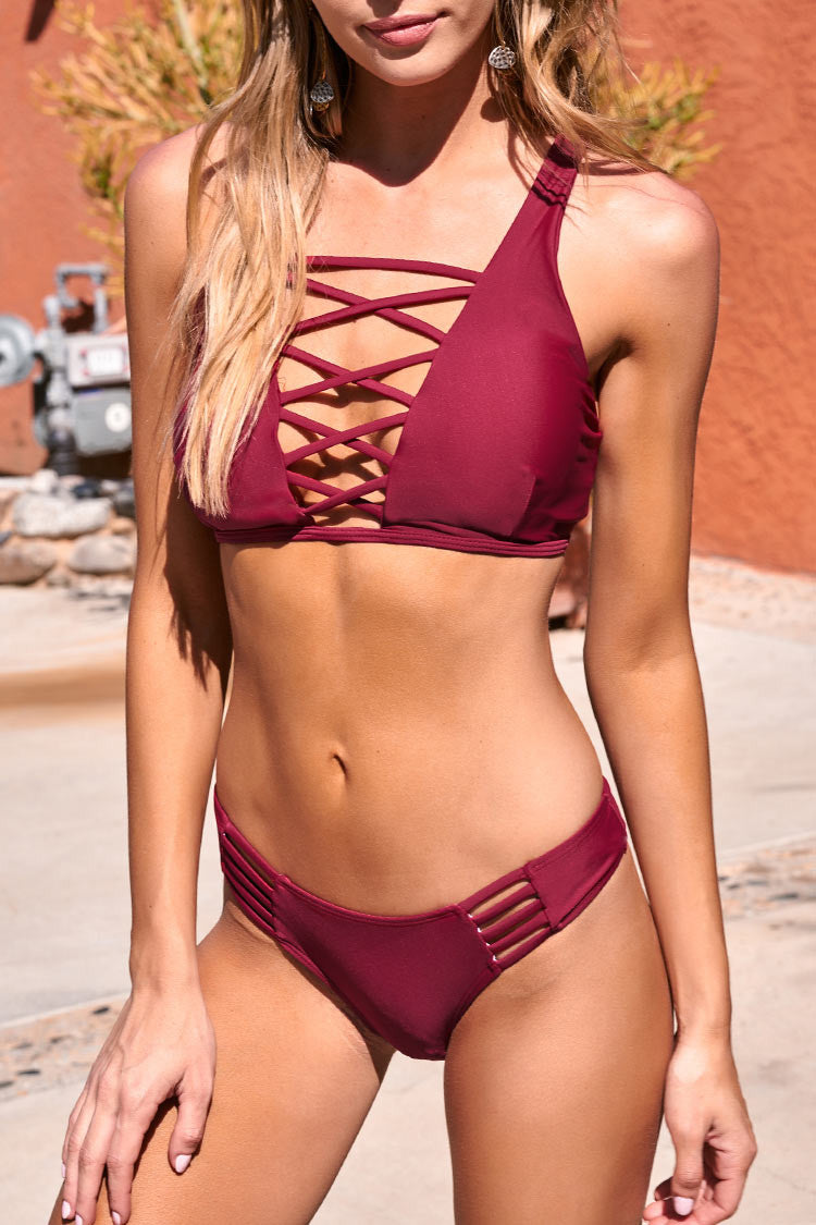 Cupshe Lingering Farewell Lace Up Bikini Set