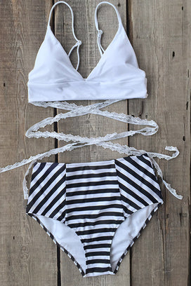 Cupshe Pure and Easy Lace Stripe Bikini Set