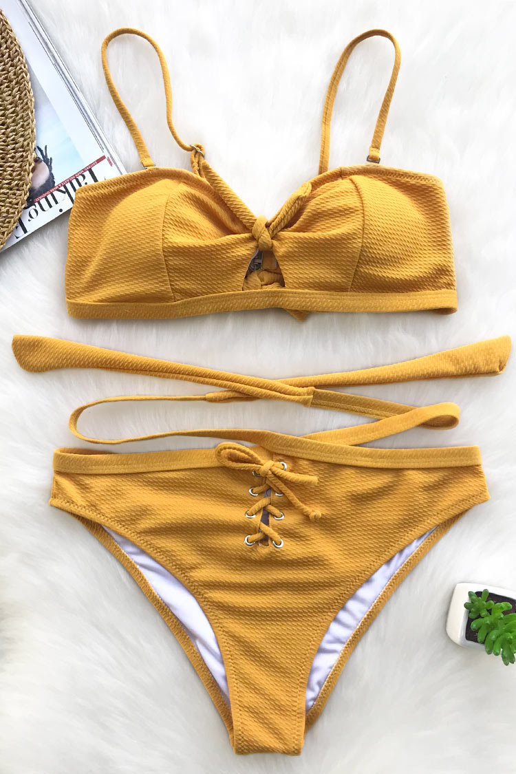 This bikini set is perfect for that sophisticated beach girl. Product Code CYY31482 Details High-waisted fit Tie at back Lace up at bottom front Adjustable shoulder straps Regular wash Special fabric95% dacron,5% spandex Referencemodel try on SIZE M, height 5\'9, weight 155 lbs, bust 36C SIZE(IN) USA UNDERBUST WAIST HIP S 4/6 26-27 28-29 29.5-30.5 M 8/10 27-28 29-30 30.5-31.5 L 12/14 28-29 30-31 31.5-32.5 XL 16 29-30 31-32 32.5-33.5 XXL 18 30-31 32-33 33.5-34.5 size chartplease allow 0.4-0.8 differs due to manual measurement Swim Top Sizing Guide S M L XL XXL 32C 32D 34A 34B 34C 34D 36A 36B 36C 36D 38A 38B 38D 40B 40C 40D 40A 40B 40C 40D