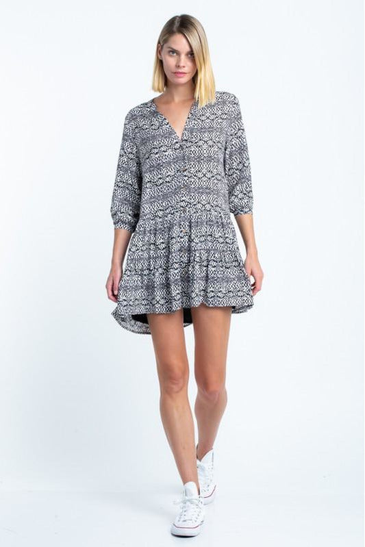 3/4 Sleeve Snake Dress