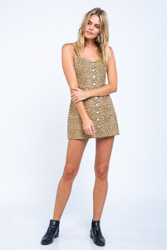 Leopard Button Front Mini Dress