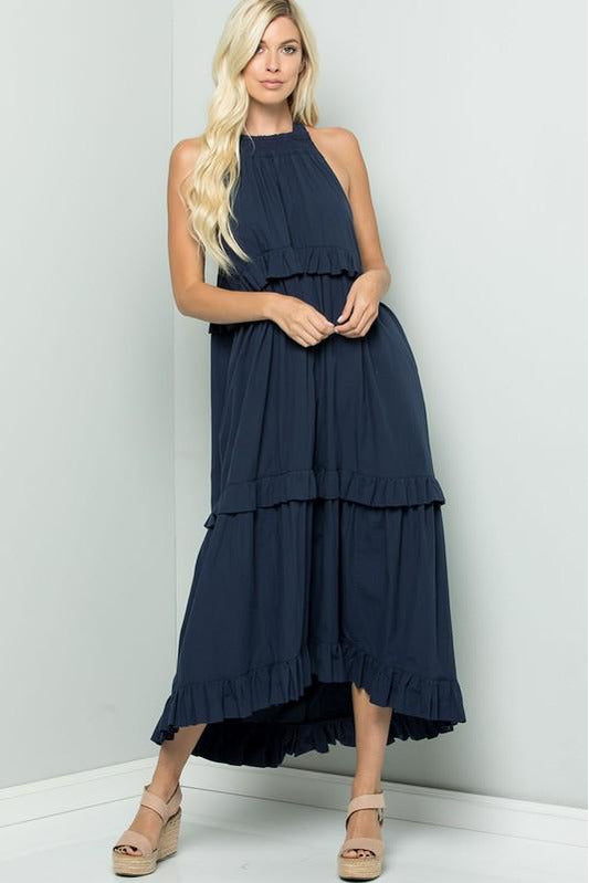 Navy Tiered Halter Maxi Dress