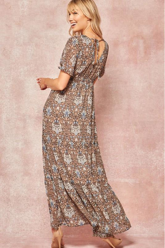 Floral Chiffon Smocked Maxi Dress