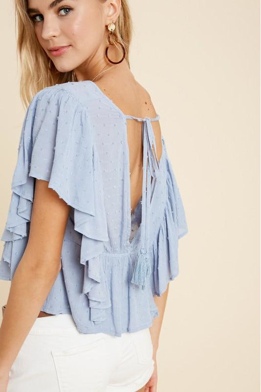 Flutter Sleeve Cropped Babydoll Top