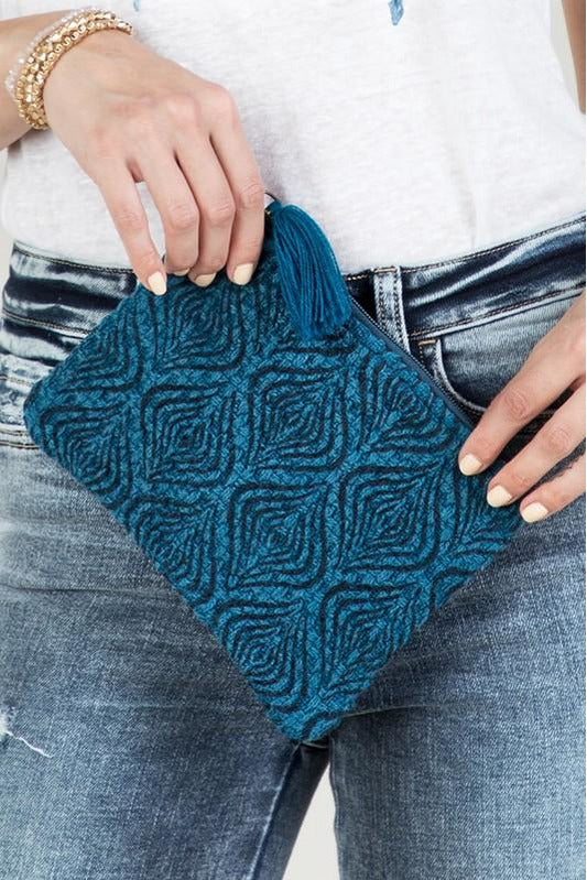 Indigo Block Print Clutch