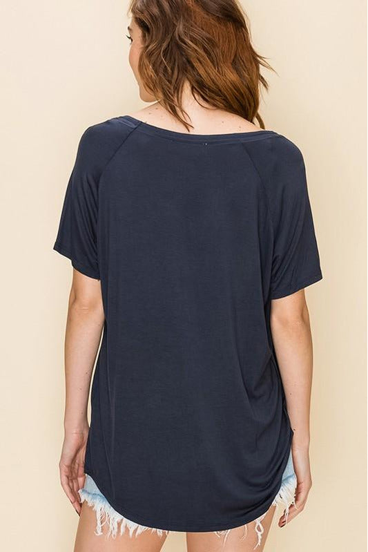 Raglan Sleeve High Low Top