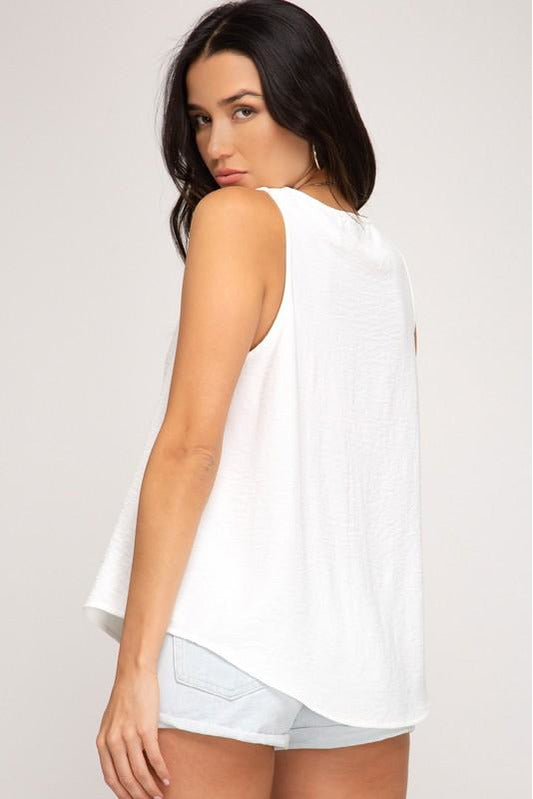 White Scalloped Neck Top