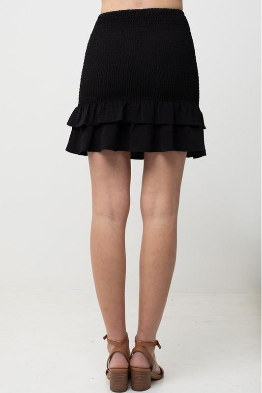 Black Ruffle Peplum Skirt